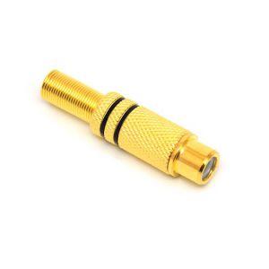 GNIAZDO RCA METAL CZARNE GOLD 4mm NA KABEL JLM